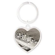 uss hector large framed print Heart Keychain