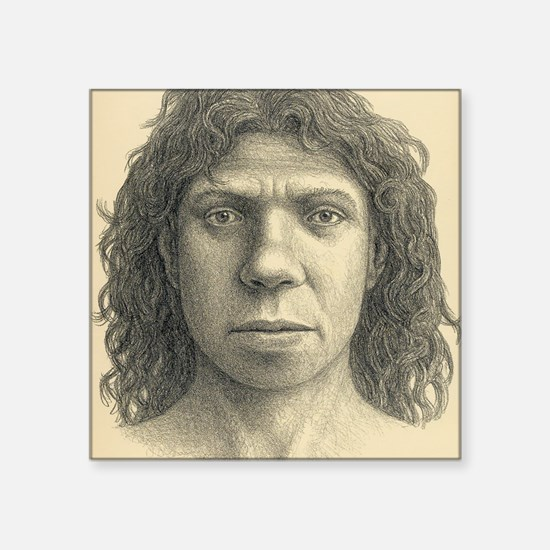 "Homo heidelbergensis female Square Sticker 3"" x 3"""