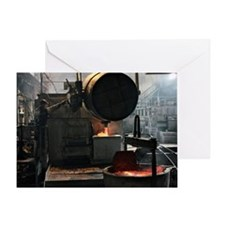 Molten aluminium ore being poured Greeting Card