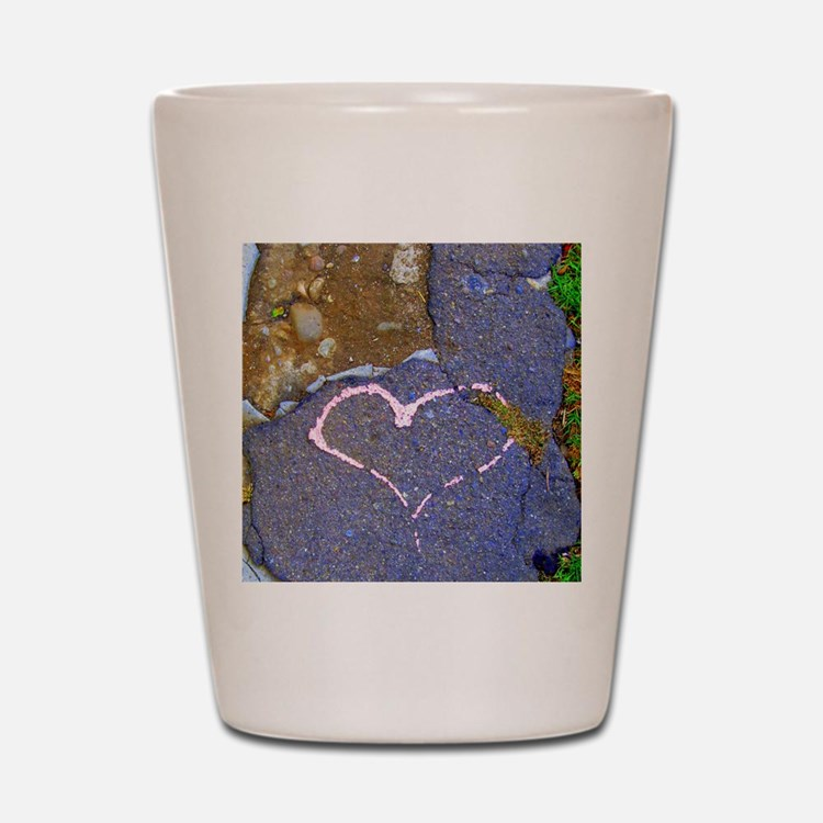 heart in stone Shot Glass