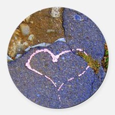heart in stone Round Car Magnet