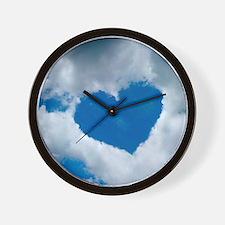 Heart-shaped cloud formation Wall Clock