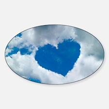 Heart-shaped cloud formation Sticker (Oval)