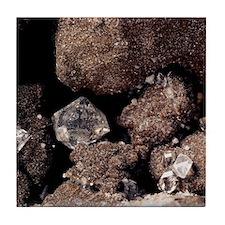 Herkimer diamonds of quartz mineral Tile Coaster