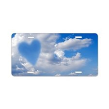 Heart shape in clouds, conc Aluminum License Plate