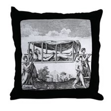 Man travelling in a palanquin Throw Pillow