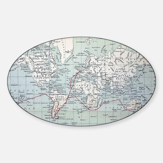 Map2 Darwin's Beagle Voyage South A Sticker (Oval)