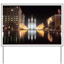 Mormon Temple at night in Salt Lake City Yard Sign