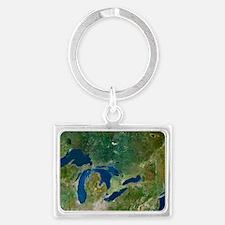 Great Lakes, satellite image Landscape Keychain
