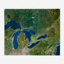 Great Lakes, satellite image Throw Blanket