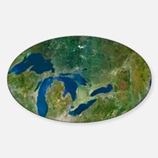 Great Lakes, satellite image Sticker (Oval)