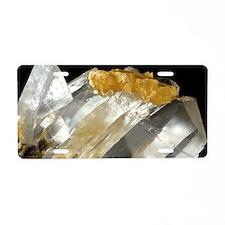 Gypsum and sulphur crystals Aluminum License Plate