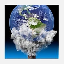 Global warming, conceptual image Tile Coaster