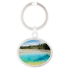 Geothermal pool in Yellowstone Natio Oval Keychain