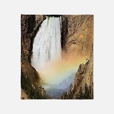 Lower Yellowstone Falls and spray ra Throw Blanket