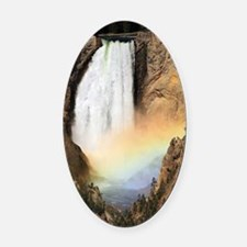 Lower Yellowstone Falls and spray  Oval Car Magnet