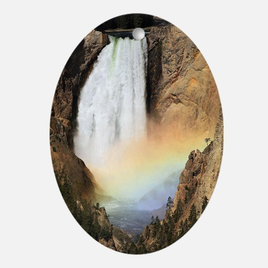 Lower Yellowstone Falls and spray ra Oval Ornament