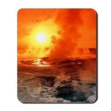 Geyser steaming at sunset, Yellowstone P Mousepad