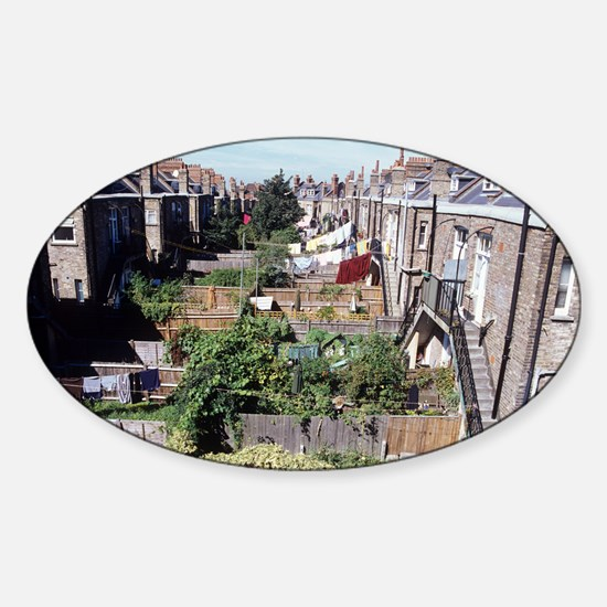 Gardens behind houses Sticker (Oval)