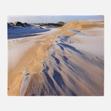 Frost covered sand dunes Throw Blanket