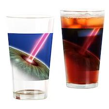 Laser eye surgery, computer artwork Drinking Glass