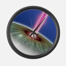 Laser eye surgery, computer artwo Large Wall Clock