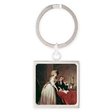 Lavoisier and his wife, 1788 Square Keychain
