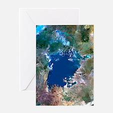 Lake Victoria, satellite image Greeting Card