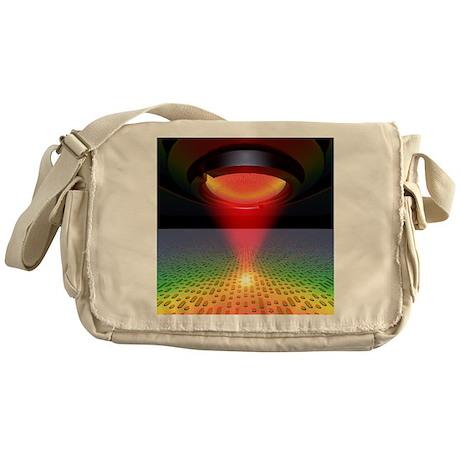 Laser reading digital pits on a CD/D Messenger Bag