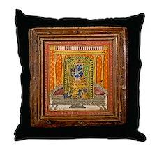 Krishna 19th Century Miniature painti Throw Pillow