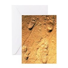 Fossilised hominid footprints from L Greeting Card