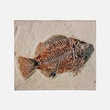 Fossilised fish, Priscacara serata Throw Blanket