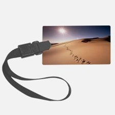 Footprints over sand dunes Luggage Tag