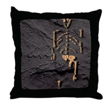 Footprints and skeleton of Lucy Throw Pillow
