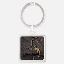 Footprints and skeleton of Lucy Square Keychain