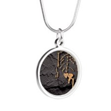 Footprints and skeleton of L Silver Round Necklace