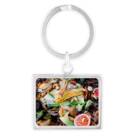 Food waste on compost heap Landscape Keychain by Admin