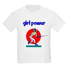 Girl Power Fencing Kids T-Shirt