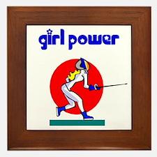 Girl Power Fencing Framed Ceramic Tile