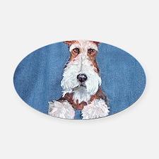 Wire Fox Terrier Portrait Oval Car Magnet