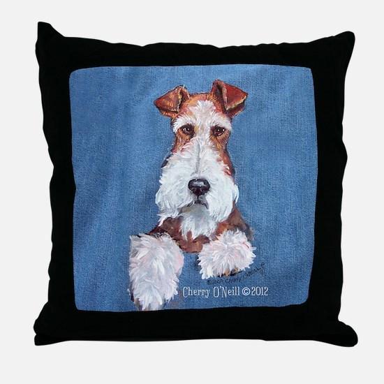 Wire Fox Terrier Portrait Throw Pillow