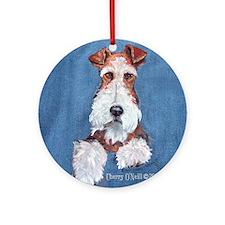 Wire Fox Terrier Portrait Round Ornament