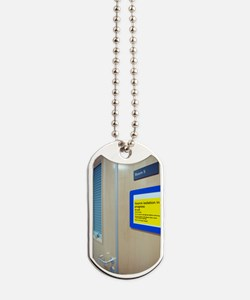 Infection control warning sign Dog Tags