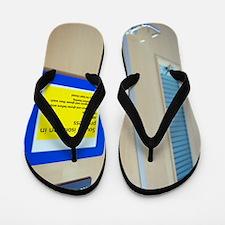 Infection control warning sign Flip Flops