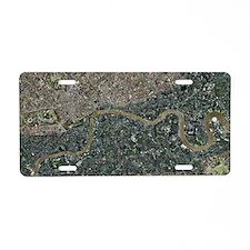 Flood risk in London, satel Aluminum License Plate
