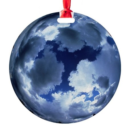 Fisheye lens view of cloud cover Round Ornament