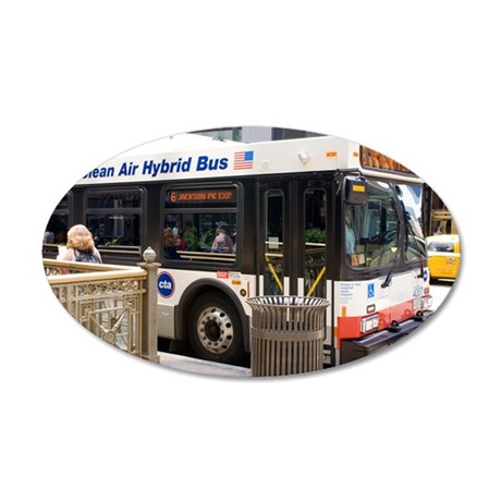 Hybrid bus in Chicago 35x21 Oval Wall Decal