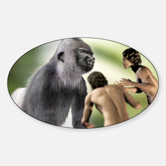 Extinct giant gorilla Sticker (Oval)