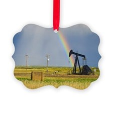 Storm clouds and rainbow over pra Ornament
