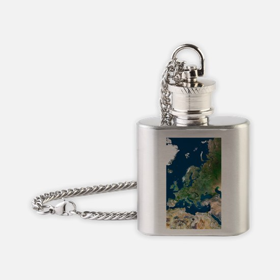 Europe, satellite image Flask Necklace